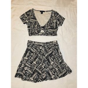 Two Piece Crop Top and Skirt Set